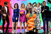 (L-R) Michael Campion, Soni Bringas, Candace Cameron-Bure, Andrea Barber, Jodie Sweetin and Scott Weinger accept the Favorite Funny TV Show award for 'Fuller House' onstage at Nickelodeon's 2019 Kids' Choice Awards at Galen Center on March 23, 2019 in Los Angeles, California.