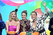 (L-R) Candace Cameron Bure, Andrea Barber Jodie Sweetin accept the Favorite Funny TV Show award for 'Fuller House' onstage at Nickelodeon's 2019 Kids' Choice Awards at Galen Center on March 23, 2019 in Los Angeles, California.
