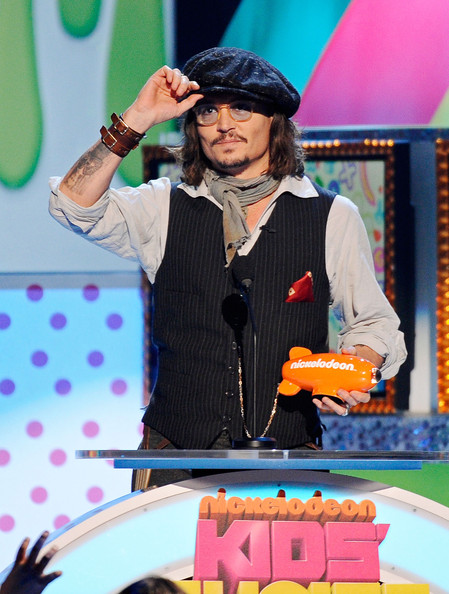 Actor Johnny Depp speaks onstage during Nickelodeon's 24th Annual Kids' Choice Awards at Galen Center on April 2, 2011 in Los Angeles, California.