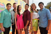 (L-R) Actors Azim Rizk, Cameron Jebo, Christina Masterson, Andrew Gray, Ciara Hanna, and John Mark Loudermilk of Mighty Morphin Power Rangersttends Nickelodeon's 27th Annual Kids' Choice Awards held at USC Galen Center on March 29, 2014 in Los Angeles, California.
