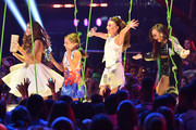 """(L-R) TV personality/dancers Kalani Hilliker, Mackenzie Ziegler, Kendall Vertes and Nia Frazier walk onstage to accept the Favorite Reality Award for """"Dance Moms"""" onstage during Nickelodeon's 28th Annual Kids' Choice Awards held at The Forum on March 28, 2015 in Inglewood, California."""