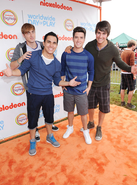 Carlos Pena, Kendall Schmidt, Logan Henderson and James Maslow of Big Time Rush celebrate Nickelodeon's largest ever Worldwide Day of Play at the Ellipse on September 24, 2011 in Washington, DC.