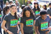(L-R) Actors Kira Kosarin, Sydney Park and Curtis Harris attend Nickelodeon Get Dirty Earth Day at Los Angeles Zoo on March 9, 2014 in Los Angeles, California.