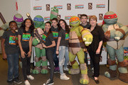 (L-R) Actors Curtis Harris, Sydney Park, Amber Montana, Kira Kosarin, Ryan Newman, Jack Griffo and President, Greater Los Angeles Zoo Association Connie Morgan attend Nickelodeon Get Dirty Earth Day at Los Angeles Zoo on March 9, 2014 in Los Angeles, California.