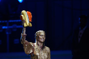 Honoree Danica Patrick reacts after being 'slimed' while accepting the Legend Award onstage during the Nickelodeon Kids' Choice Sports 2018 at Barker Hangar on July 19, 2018 in Santa Monica, California.