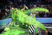 Lindsey Vonn, Laurie Hernandez, P. K. Subban, David Dobrik, Rob Gronkowski, Trae Young, host Michael Strahan, Shaun White, and Kel Mitchell get slimed onstage during Nickelodeon Kids' Choice Sports 2019 at Barker Hangar on July 11, 2019 in Santa Monica, California.