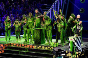 (L-R) Olivia Moultrie, Laurie Hernandez, David Dobrik, Rob Gronkowski, Ben Simmons, host Michael Strahan, Trae Young, Kel Mitchell, Shaun White, P. K. Subban, Lindsey Vonn, and Alysa Liu react after being slimed onstage during Nickelodeon Kids' Choice Sports 2019 at Barker Hangar on July 11, 2019 in Santa Monica, California.