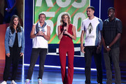 (L-R) USWNT soccer players Carli Lloyd and Abby Wambach, tv personality Erin Andrews and NBA players Klay Thompson and Draymond Green speak onstage at the Nickelodeon Kids' Choice Sports Awards 2015 at UCLA's Pauley Pavilion on July 16, 2015 in Westwood, California.