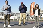 Terrell Thomas, Harry Carson and Daniella Monet attend the Nickelodeon And NFL Play 60 At The Intrepid on September 17, 2013 in New York City.