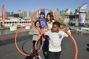 Breanna Yde, Kellee McQuinn, Daniella Monet and Benjamin Flores Jr. attend the Nickelodeon And NFL Play 60 At The Intrepid on September 17, 2013 in New York City.