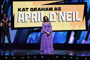 Brandon Mychal Smith and Kat Graham speak onstage at the Nickelodeon Upfront 2018 at Palace Theatre on March 6, 2018 in New York City.