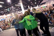"""(L-R) Actors Thomas Kuc, Benjamin """"Lil P-Nut"""" Flores Jr., Madisyn Shipman, from the cast of NickelodeonÂ's Game Shakers, YouTube sensation GloZell, cast member Kel Mitchell, and Viner superstar Josh Peck take a selfie with fans at VidCon on July 25, 2015 in Anaheim, California. New live-action comedy series set to premiere Saturday, Sept. 12 at 8:30pm (ET/PT)"""