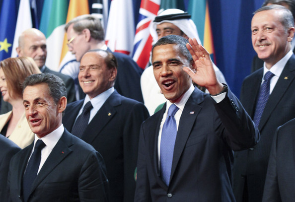 World Leaders Gather In Cannes For The G20 Summit [barack obama,silvio berlusconi,recep tayyip erdoga,r,president,leaders,event,businessperson,official,white-collar worker,gesture,management,employment,suit,government,flag,french,cannes,world leaders gather in cannes for the g20 summit,group of 20]