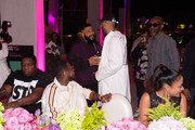 Dj Khaled, Fabolous and Swizz Beatz attend Nicole & DJ Khaled's Birthday Celebration With Haute Living And Roger Dubuis at Perez Art Museum Miami on December 9, 2018 in Miami, Florida.