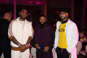 Fabolous, Dj Khaled and Swizz Beatz attend Nicole & DJ Khaled's Birthday Celebration With Haute Living And Roger Dubuis at Perez Art Museum Miami on December 9, 2018 in Miami, Florida.
