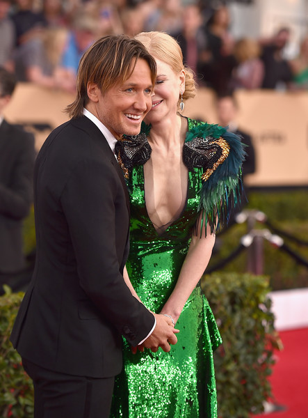 23rd Annual Screen Actors Guild Awards - Arrivals [green,event,interaction,premiere,fun,formal wear,smile,dress,happy,flooring,arrivals,nicole kidman,keith urban,screen actors guild awards,california,los angeles,the shrine expo hall]