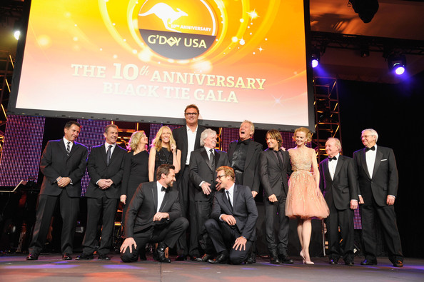 2013 G'Day USA Los Angeles Black Tie Gala - Inside [event,award ceremony,company,brand,team,honorees,anthony lapaglia,mel gibson,graham russell,simon baker,russell hitchcock,l-r,los angeles,usa,black tie gala]