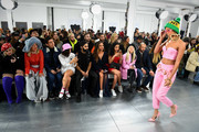 Feleicity Hayward, Soki Mak, Kyle De'Volle, Kari Marni, Amir Amor, Jade Thirwall, Kara Marni and Alice Chater attend the Nicopanda FW18 LFW Show during London Fashion Week February 2018 at TopShop Show Space on February 19, 2018 in London, England.