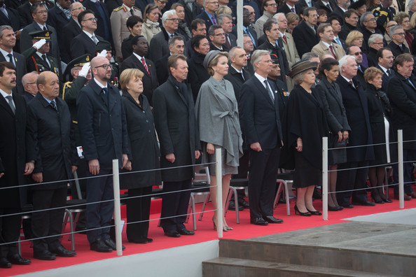 German Chancellor Angela Merkel, Grand Duke Henri of Luxembourg, Queen Mathilde of Belgium, King Philippe of Belgium, Princess Beatrix of The Netherlands and Princess Lalla Meryem of Marocco attend the Commemoration of 100th Anniversary of WWI marking one hundred years since the start of the first World War on October 28, 2014 in Nieuwpoort, Belgium.