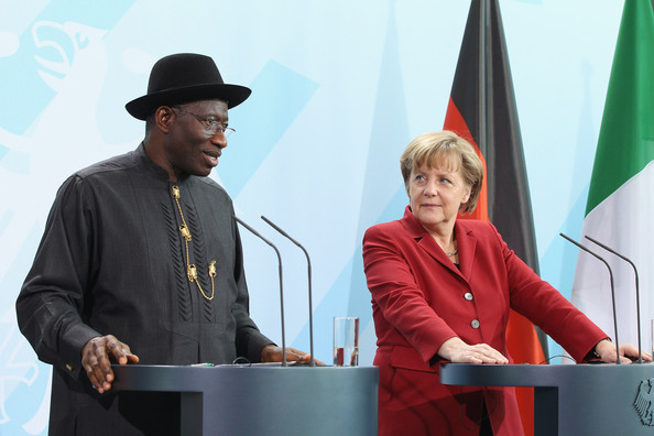 German Chancellor Angela Merkel and Nigerian President Goodluck Jonathan speak to the media after talks at the Chancellery on April 19, 2012 in Berlin, Germany. The two leaders discussed economic cooperation between their two countries as well as security issues.
