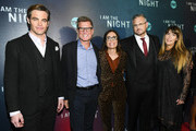 """(L-R) Chris Pine, President, TNT & TBS and Chief Content Officer Kevin Reilly, EVP, Original Programming TNT Sarah Aubrey, Sam Sheridan, and Patty Jenkins attend the """"I Am the Night"""" Premiere at Metrograph on January 22, 2019 in New York City. 484171"""