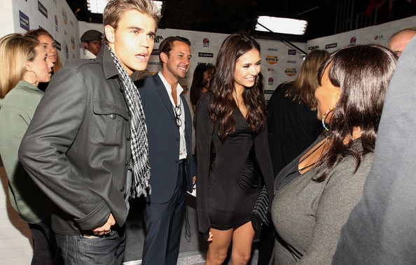 "Nina Dobrev Actor Paul Wesley (L) and Nina Dobrev arrives at Spike TV's ""Scream 2010"" at The Greek Theatre on October 16, 2010 in Los Angeles, California."