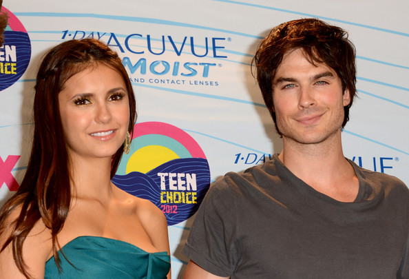 Nina Dobrev Actors Nina Dobrev and Ian Somerhalder, winners of Choice Fantasy/Sci-Fi Show award, pose in the press room during the 2012 Teen Choice Awards at Gibson Amphitheatre on July 22, 2012 in Universal City, California.