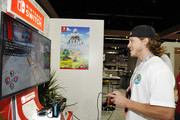 Blake Anderson checks out 'Marvel Ultimate Alliance 3: The Black Order' for the Nintendo Switch system during the 2019 E3 Gaming Convention at Los Angeles Convention Center on June 12, 2019 in Los Angeles, California.