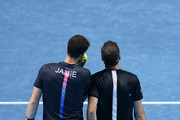 Jamie Murray of Great Britain and Bruno Soares of Brazil speak during their round robin match against Henri Kontinen of Finland and John Peers of Australia during Day Five of the Nitto ATP Finals at The O2 Arena on November 15, 2018 in London, England.