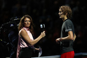 Alexander Zverev of Germany is interviewed by Annabel Croft after he won his semi finals singles match against Roger Federer of Switzerland during Day Seven of the Nitto ATP Finals at The O2 Arena on November 17, 2018 in London, England.