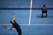 Bruno Soares of Brazil and Jamie Murray of Great Britain plays a serve in their doubles semi finals match against Mike Bryan and Jack Sock of The United States during Day Seven of the Nitto ATP Finals at The O2 Arena on November 17, 2018 in London, England.