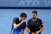 Jamie Murray of Great Britain and Bruno Soares of Brazil in conversation in their doubles semi finals match against Mike Bryan and Jack Sock of The United States during Day Seven of the Nitto ATP Finals at The O2 Arena on November 17, 2018 in London, England.