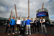 (L-R) Dominic Thiem of Austria, Novak Djokovic of Serbia, Matteo Berrettini of Italy, Roger Federer of Switzerland, Rafael Nadal of Spain, Alexander Zverev of Germany, Daniil Medvedev of Russia and Stefanos Tsitsipas of Greece pose for a photo outside The O2 Arena during previews for the Nitto ATP World Tour Finals at The O2 Arena on November 08, 2019 in London, England.
