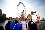 (R-L) Alexander Zverev of Germany, Dominic Thiem of Austria, Matteo Berrettini of Italy, Novak Djokovic of Serbia, Daniil Medvedev of Russia. Roger Federer of Switzerland, Stefanos Tsitsipas of Greece and Rafael Nadal of Spain pose for a selfie on a boat on The River Thames during previews for the Nitto ATP World Tour Finals at The O2 Arena on November 08, 2019 in London, England.
