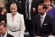 Crown Princess Mette-Marit of Norway and Crown Prince Haakon of Norway attend the Nobel Peace Prize ceremony at Oslo City Town Hall on December 10, 2015 in Oslo, Norway.