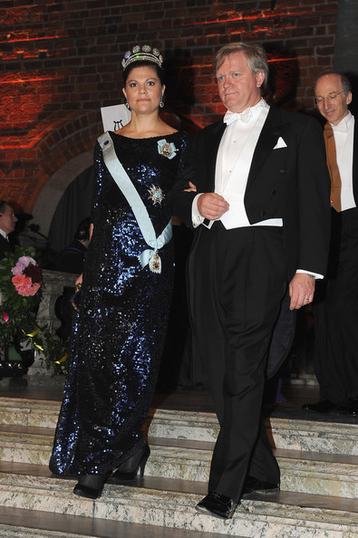 Crown Princess Victoria of Sweden (L) and Nobel Laureate in Physics, Brian Schmidt (R) attend the Nobel Banquet at the City Hall on December 10, 2011 in Stockholm, Sweden.
