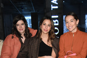 (L-R) Marie Nasemann, Gizem Emre and Anna Sharypova attends the Nobi Talai show during Berlin Fashion Week Autumn/Winter 2020 at Kraftwerk Mitte on January 15, 2020 in Berlin, Germany.