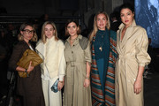 (L-R) Karin Teigl, Sonia Lyson, Aylin Koenig, Nina Suess and Rebecca Mir attend the Nobi Talai show during Berlin Fashion Week Autumn/Winter 2020 at Kraftwerk Mitte on January 15, 2020 in Berlin, Germany.