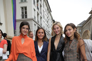 Marie Nasemann, Laura Noltemeyer, Mandy Bork and Masha Sedgwick attend the Nobi Talai fashion show during the Berlin Fashion Week Spring/Summer 2020 at Parochialkirche on July 04, 2019 in Berlin, Germany.