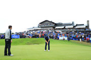 Paul Waring of England putts on the 18th green to win the playoff against Thomas Aiken of South Africa during day four of the Nordea Masters at Hills Golf Club on August 19, 2018 in Gothenburg, Sweden.