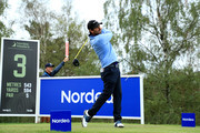 Thomas Aiken of South Africa tees off on the 3rd during day two of the Nordea Masters at Hills Golf Club on August 17, 2018 in Gothenburg, Sweden.