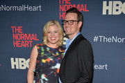 "Megan Hilty and Brian Gallagher attends the New York premiere of ""The Normal Heart"" at Ziegfeld Theater on May 12, 2014 in New York City."