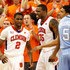 Trevor Booker Demontez Stitt Photos - Trevor Booker #35 of the Clemson Tigers reacts with Demontez Stitt #2 after Stitt drew a foul on a lay up against the North Carolina Tar Heels at Littlejohn Coliseum on January 13, 2010 in Clemson, South Carolina. - North Carolina v Clemson