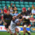 James Haskell of Northampton Saints holds off a challenge by Rémi Lamerat of Clermont Auvergne during the Challenge Cup match between Northampton Saints and Clermont Auvergne at Franklin's Gardens on October 13, 2018 in Northampton, United Kingdom.
