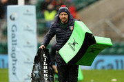 Geordan Murphy, the Leicester Tigers interim head coach, helps carry the tackle bags during the Gallagher Premiership Rugby match between Northampton Saints and Leicester Tigers at Twickenham Stadium on October 6, 2018 in London, United Kingdom.