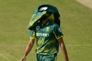 Imran Tahir of South Africa reacts during the one-day match between Northamptonshire and South Africa at the County Ground on May 21, 2017 in Northampton, England.