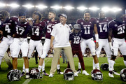 Texas A&M Aggies head coach Jimbo Fisher celebrates with his team after defeating the Northwestern State Demons in a football game at Kyle Field on August 30, 2018 in College Station, Texas.