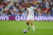 Jill Scott of England runs with the ball during the 2019 FIFA Women's World Cup France Quarter Final match between Norway and England at Stade Oceane on June 27, 2019 in Le Havre, France.