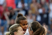 Jill Scott of England celebrates with teammates after scoring her team's first goal during the 2019 FIFA Women's World Cup France Quarter Final match between Norway and England at Stade Oceane on June 27, 2019 in Le Havre, France.