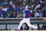Anthony Rizzo #44 of the Chicago Cubs bats against the Oakland Athletics during the spring training game at Sloan Park on February 28, 2018 in Mesa, Arizona.